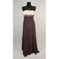 Dlouhé hnědé společenské šaty vel 36-38