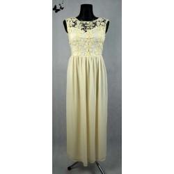 Dlouhé béžové šaty s krajkou vel 44