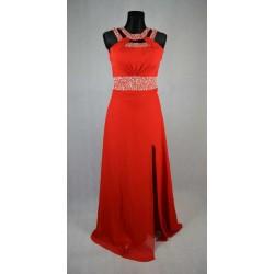 Červené saténové šaty vel 34