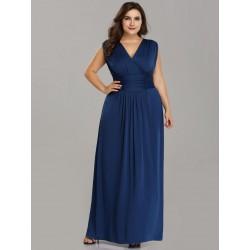 Modré maxi šaty EP07661SB