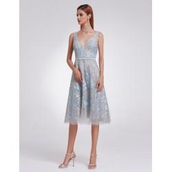 Polodlouhé šedé květované šaty EP05935GY