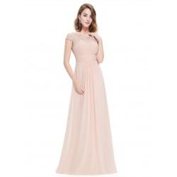 Krajkové béžové večerní šaty EP09993BH