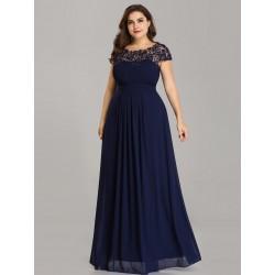 Krajkové modré večerní šaty EP09993NB