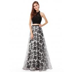 Dvoudílné černé večerní šaty Ever-Pretty