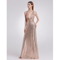 Zlaté šaty s flitry EP07109RG