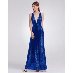 Modré šaty s flitry EP07109SB