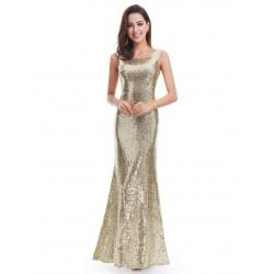 Zlaté šaty s flitry EP07110GD