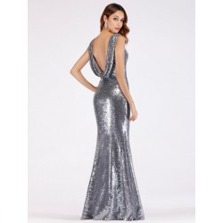 stříbrné šaty s flitry EP07551SV