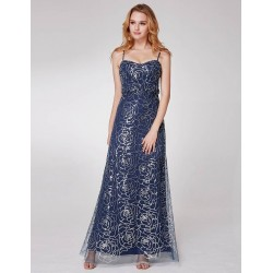 Modré šaty s flitry EP07288NB