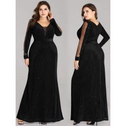 Semišové šaty s dlouhým rukávem EP07394BK