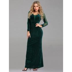 Semišové šaty s dlouhým rukávem EP07394DG