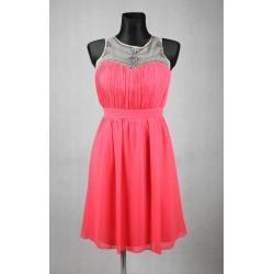 Růžové společenské šaty vel 40