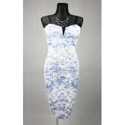 Fialkové bílé tube šaty na ramínka vel 44