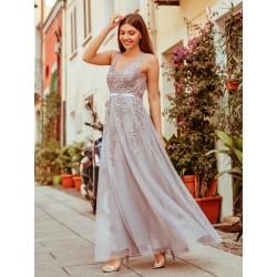 Šedé krajkové šaty EP07544