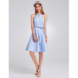 Bledě modré šaty krátké EP05893BL