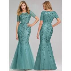Modro-zelené šaty s krátkým...