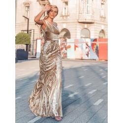 Zlaté šaty na jedno rameno...
